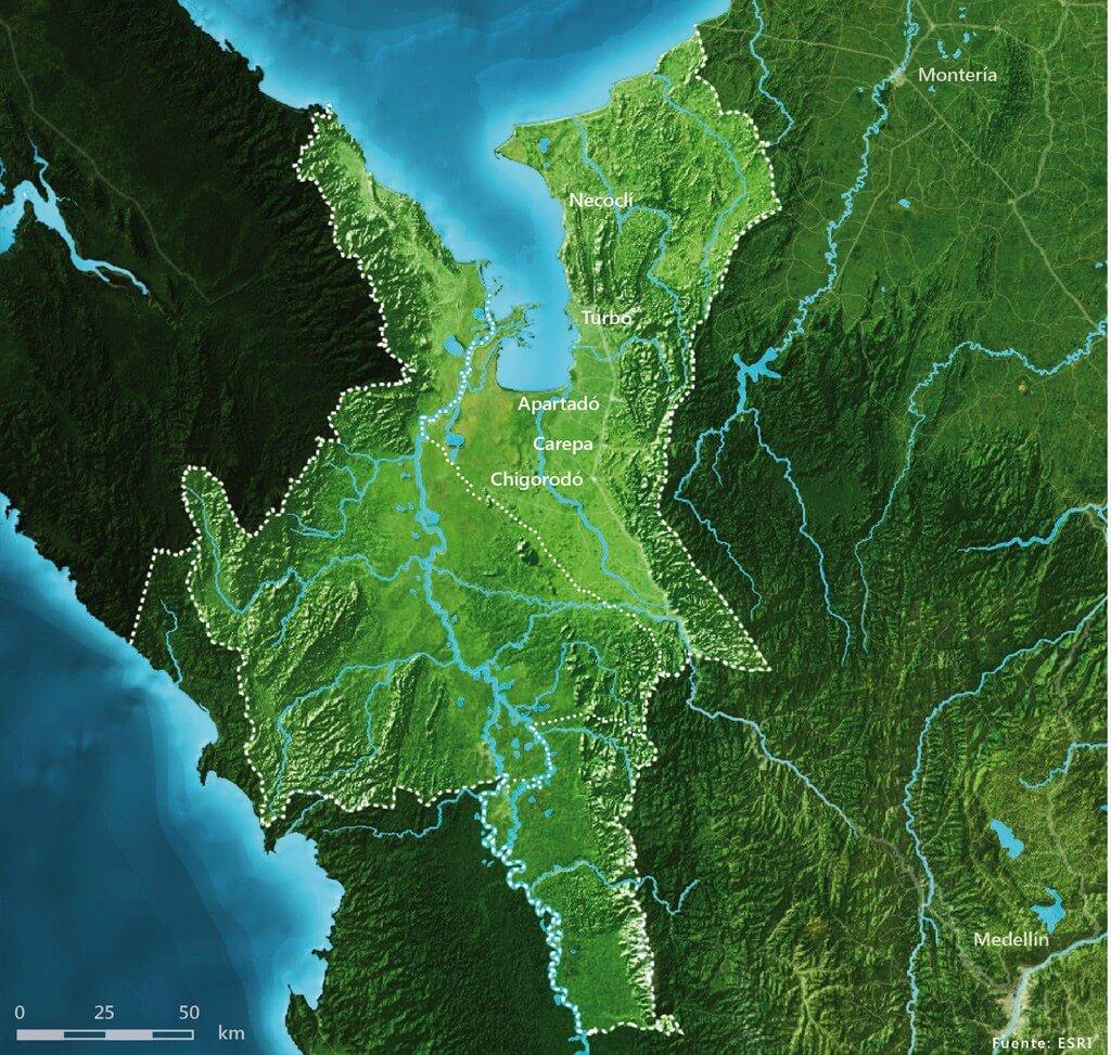 Mapa de la región de urabá